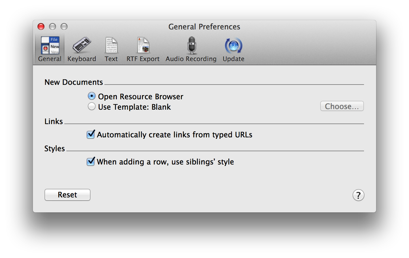 Omnioutliner 4 for mac user manual omnioutliner preferences for Omnioutliner templates