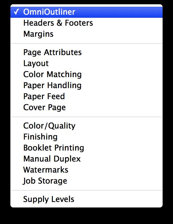 OmniOutliner 4 for Mac User Manual - Printing from OmniOutliner