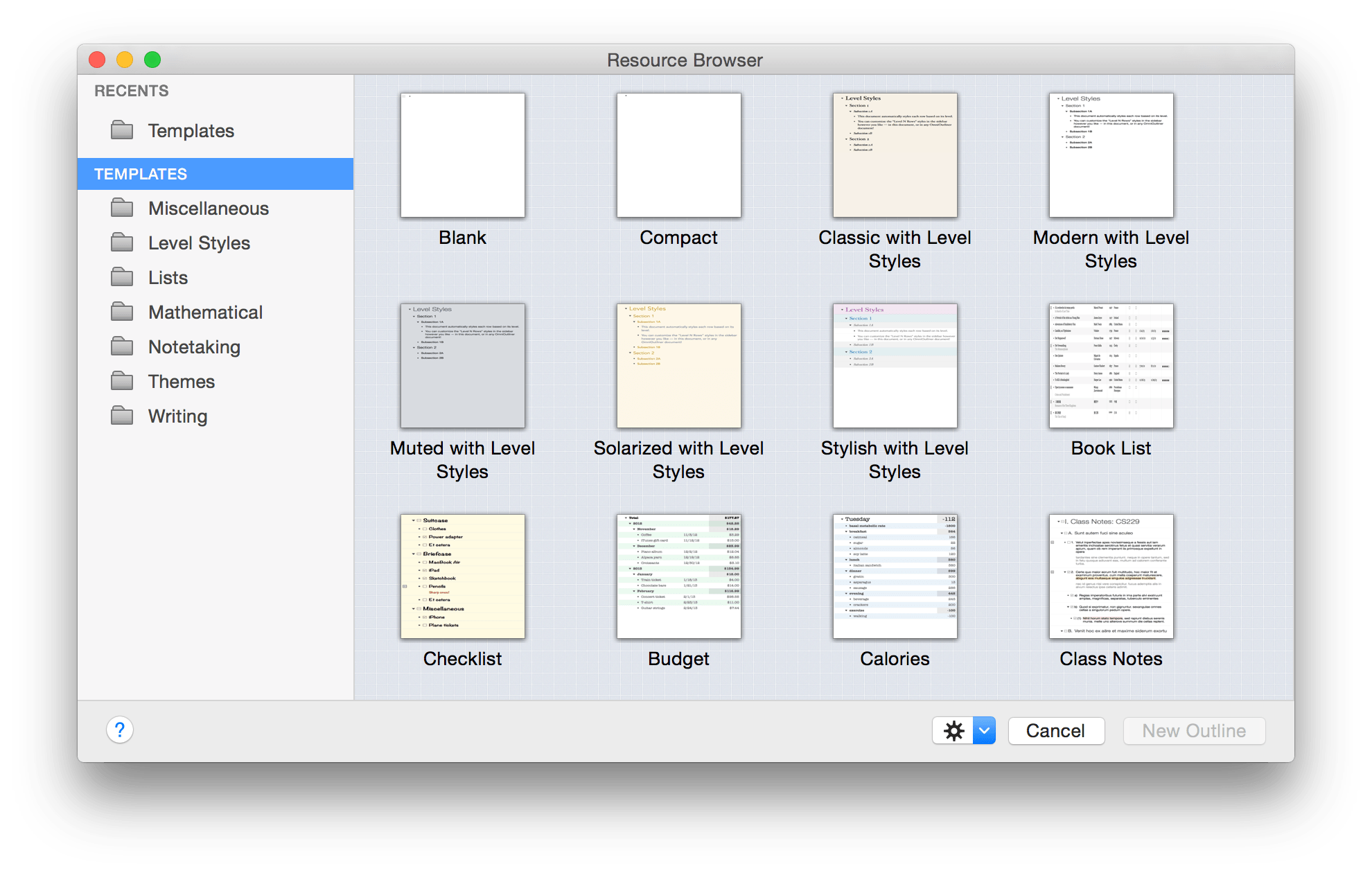 OmniOutliner 4 2 for Mac User Manual - Using the Resource