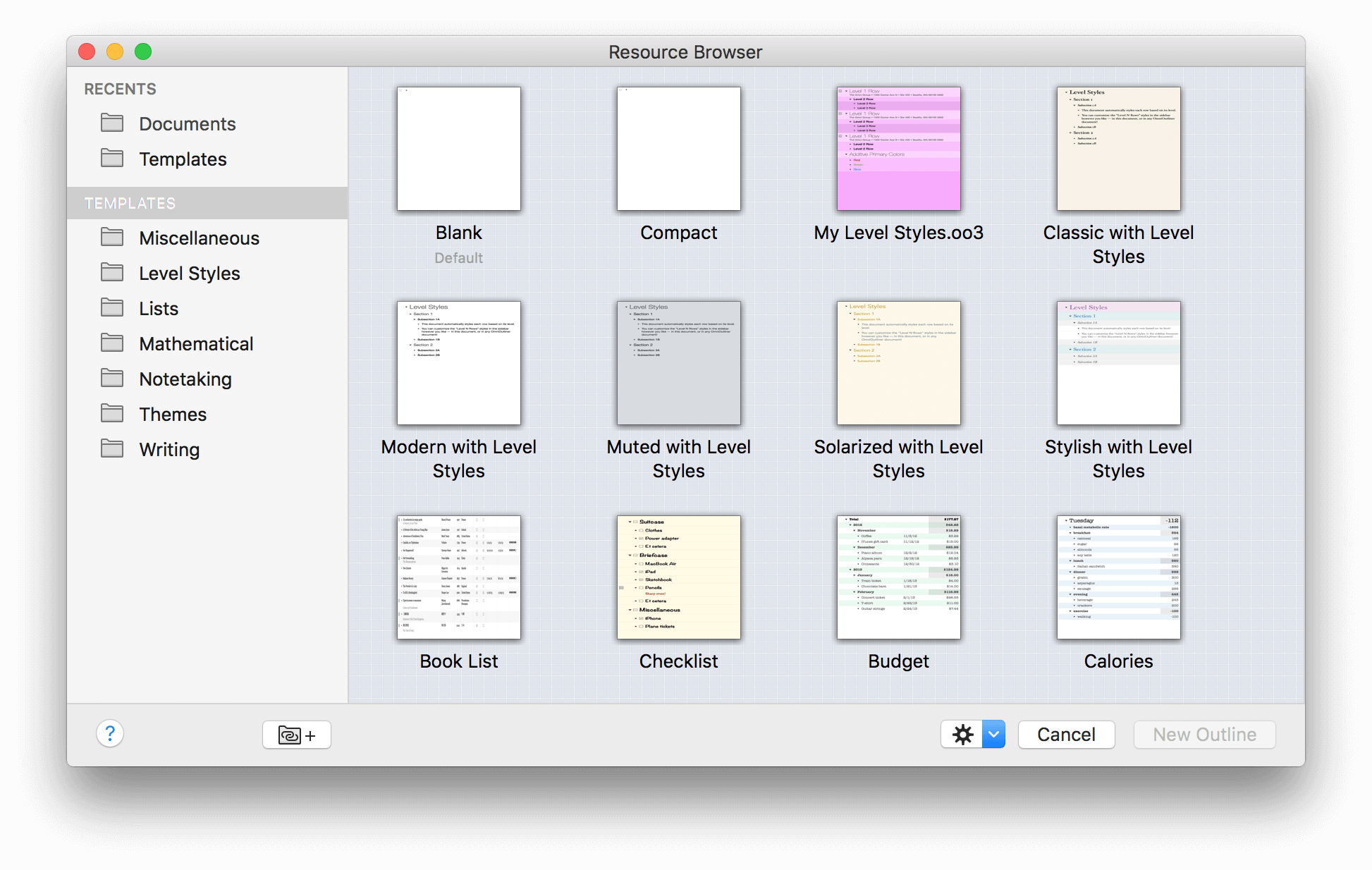 Omnioutliner 4 5 2 for mac user manual using the for Omnioutliner templates