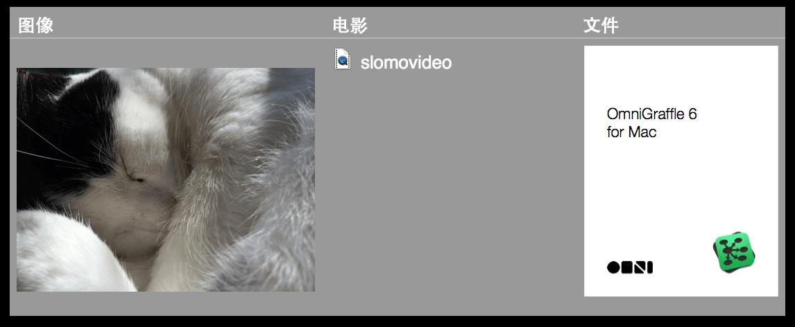 不同的附加文件,包括图像、视频剪辑以及 PDF 文稿
