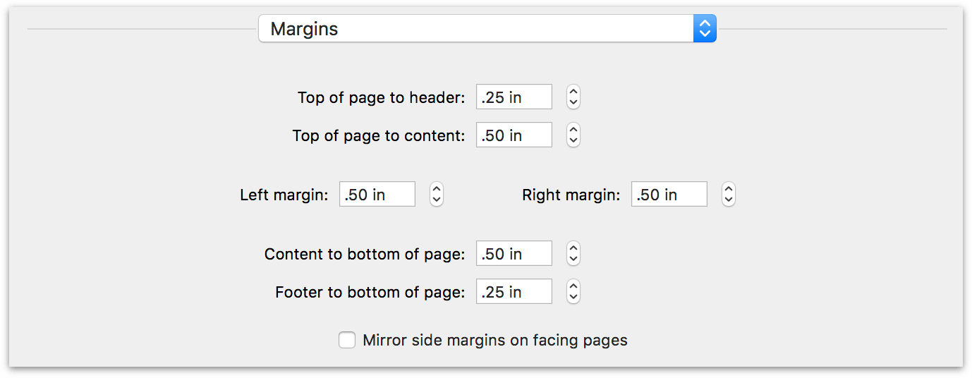 margins print options in OmniOutliner Pro