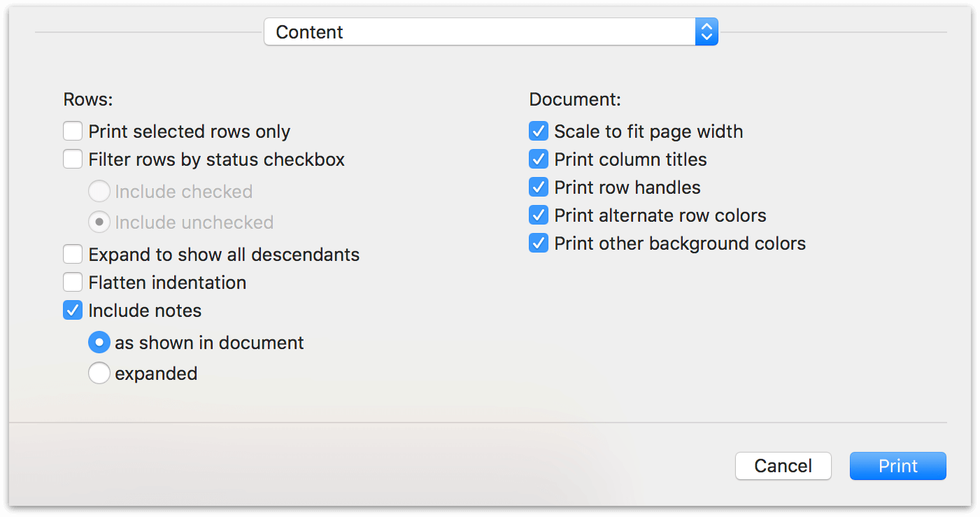 content print options in OmniOutliner Pro