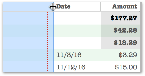 dragging to manually adjust column width for printing