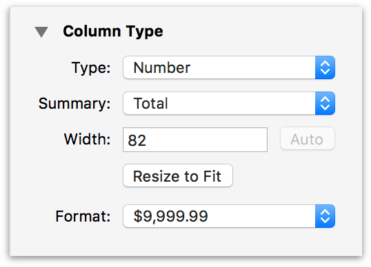 the Column Type Inspector