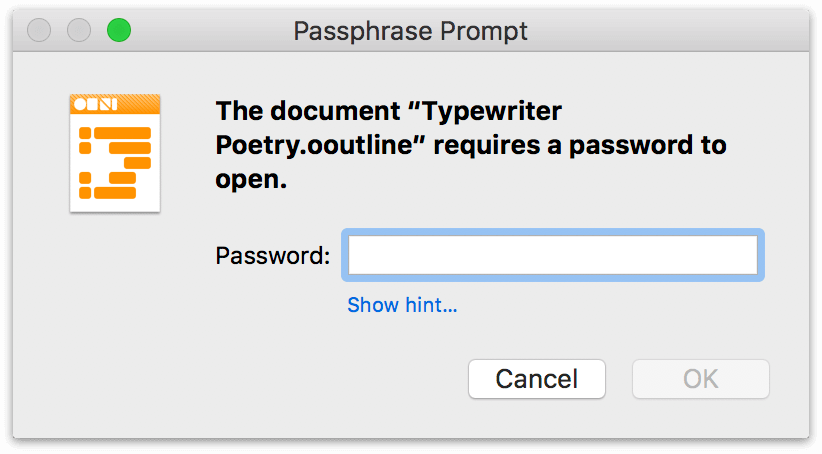 OmniOutliner asks for a password once the document is encrypted