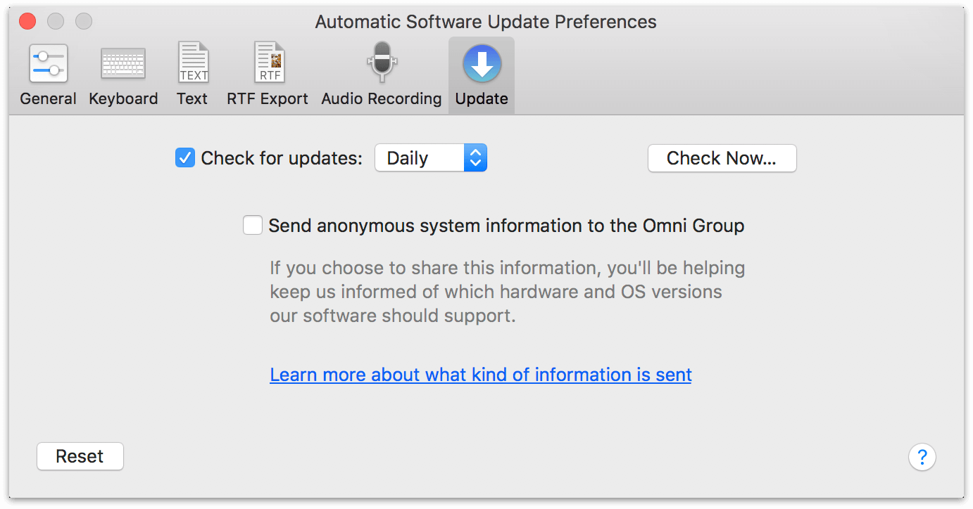 Automatic Software Update preferences in OmniOutliner 5 Pro