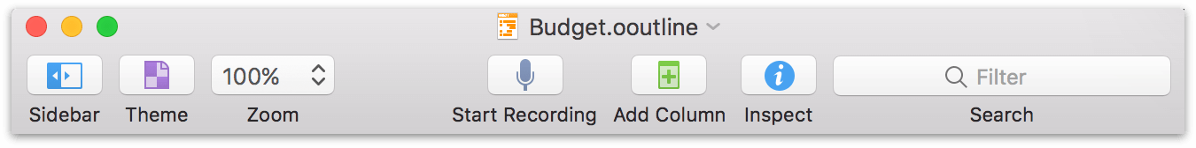 The Toolbar with the default button layout in OmniOutliner 5 Pro