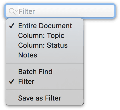 The search field with dropdown menu options in OmniOutliner 5 Pro