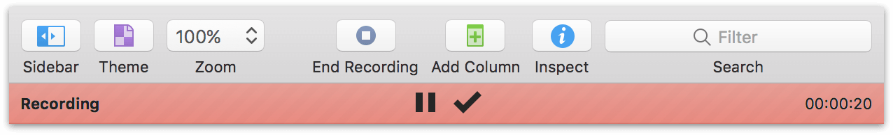 the recording UI in OmniOutliner 5 Pro