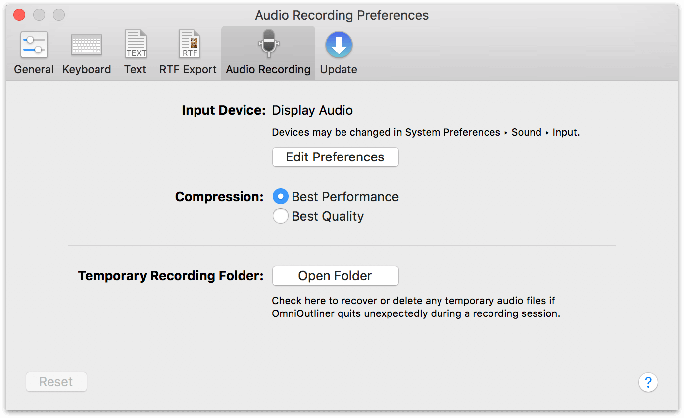 Audio Recording preferences in OmniOutliner 5 Pro