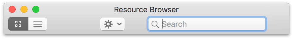 The Resource Browser's toolbar