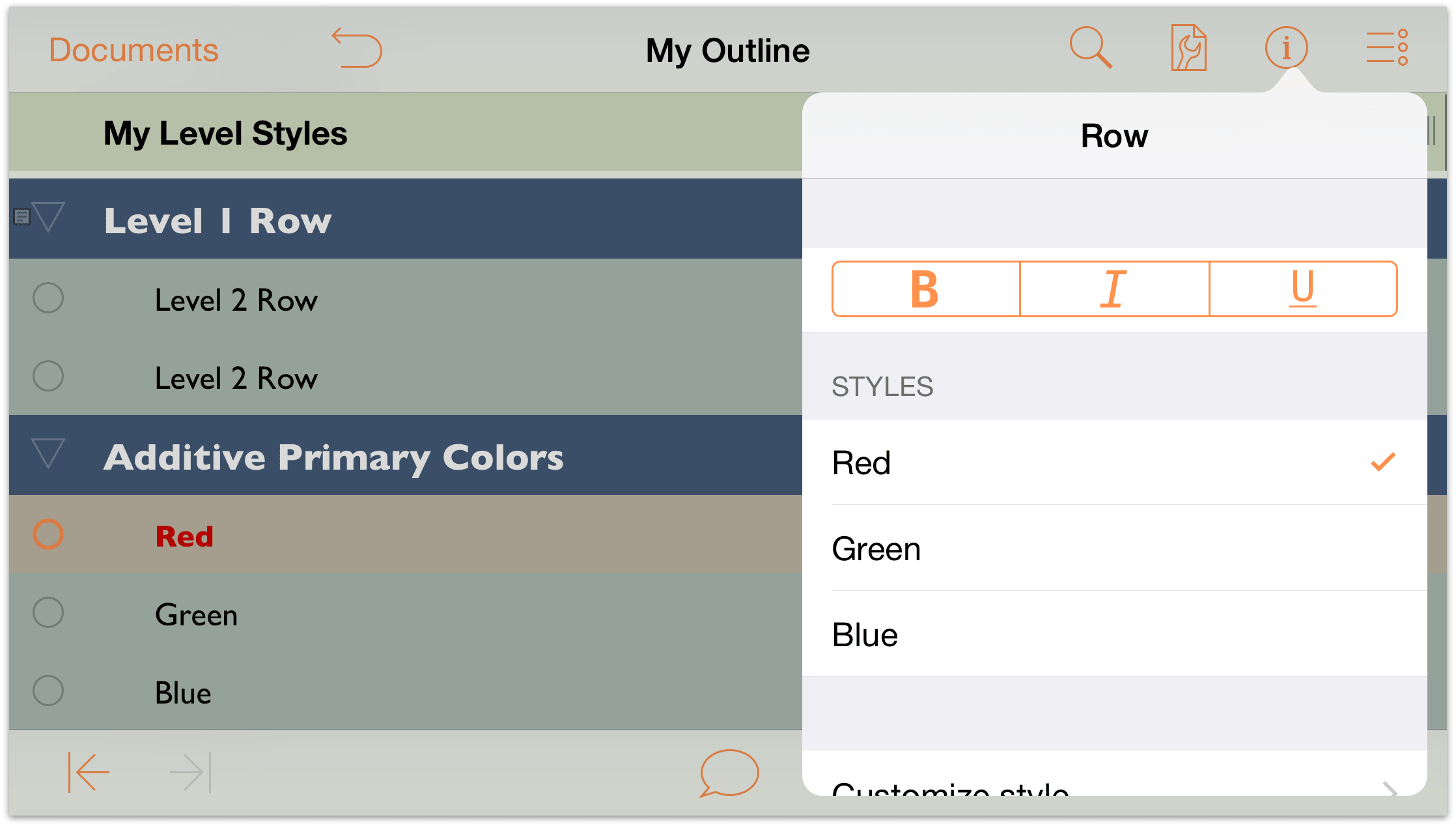 Omnioutliner for ios user manual working with for Omnioutliner templates