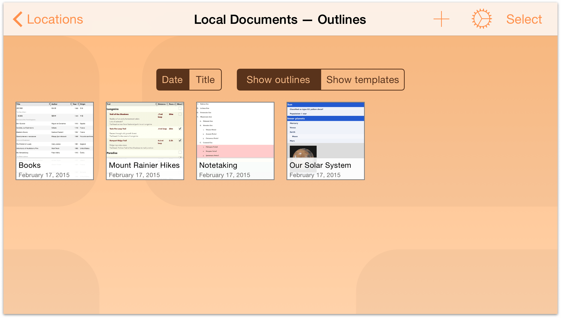 Omnioutliner 2 3 for ios user manual managing files with for Omnioutliner templates