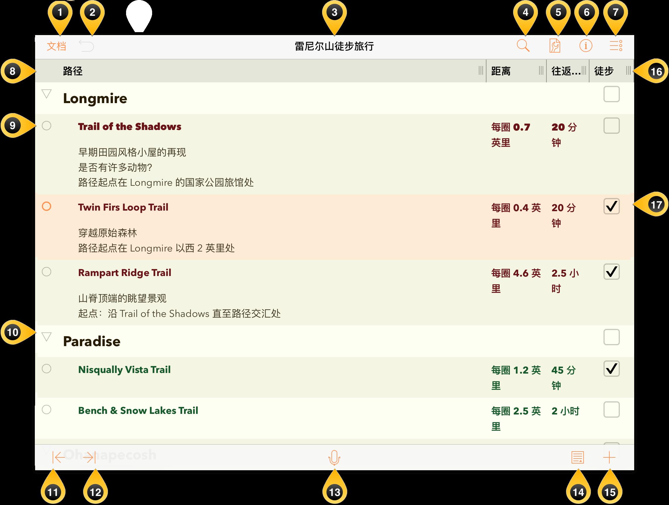 OmniOutliner 界面元素概览