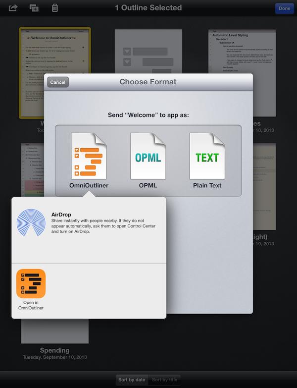 """使用""""发送到应用程序""""在同一 iPad 上的两个 OmniOutliner 版本之间迁移文稿。"""