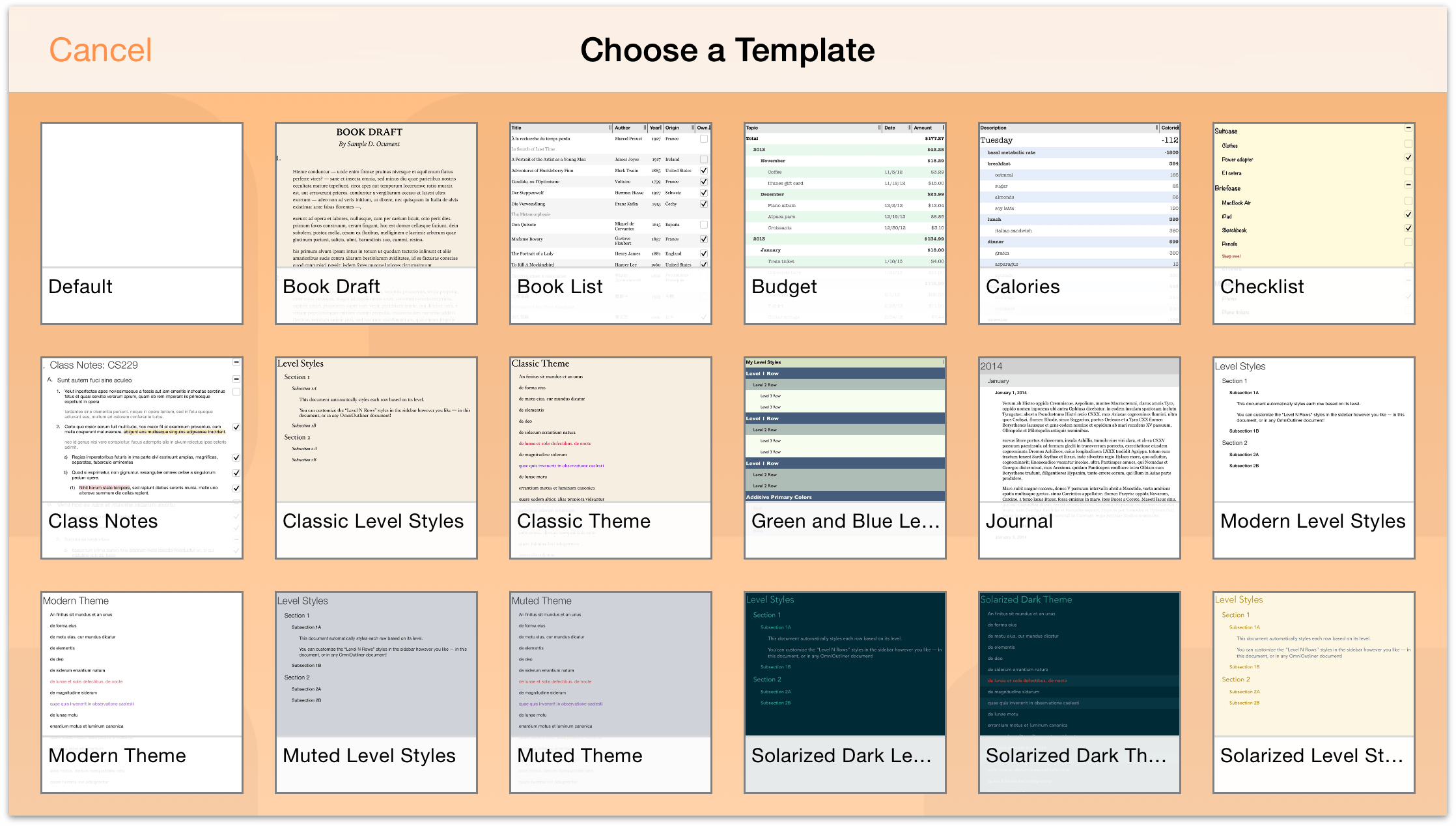 omnioutliner 2 5 for ios user manual working with templates and styles