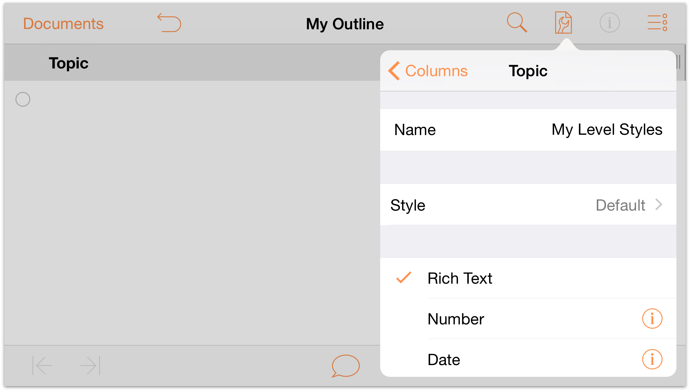 OmniOutliner 2.7 for iOS User Manual - Working with Templates and Styles