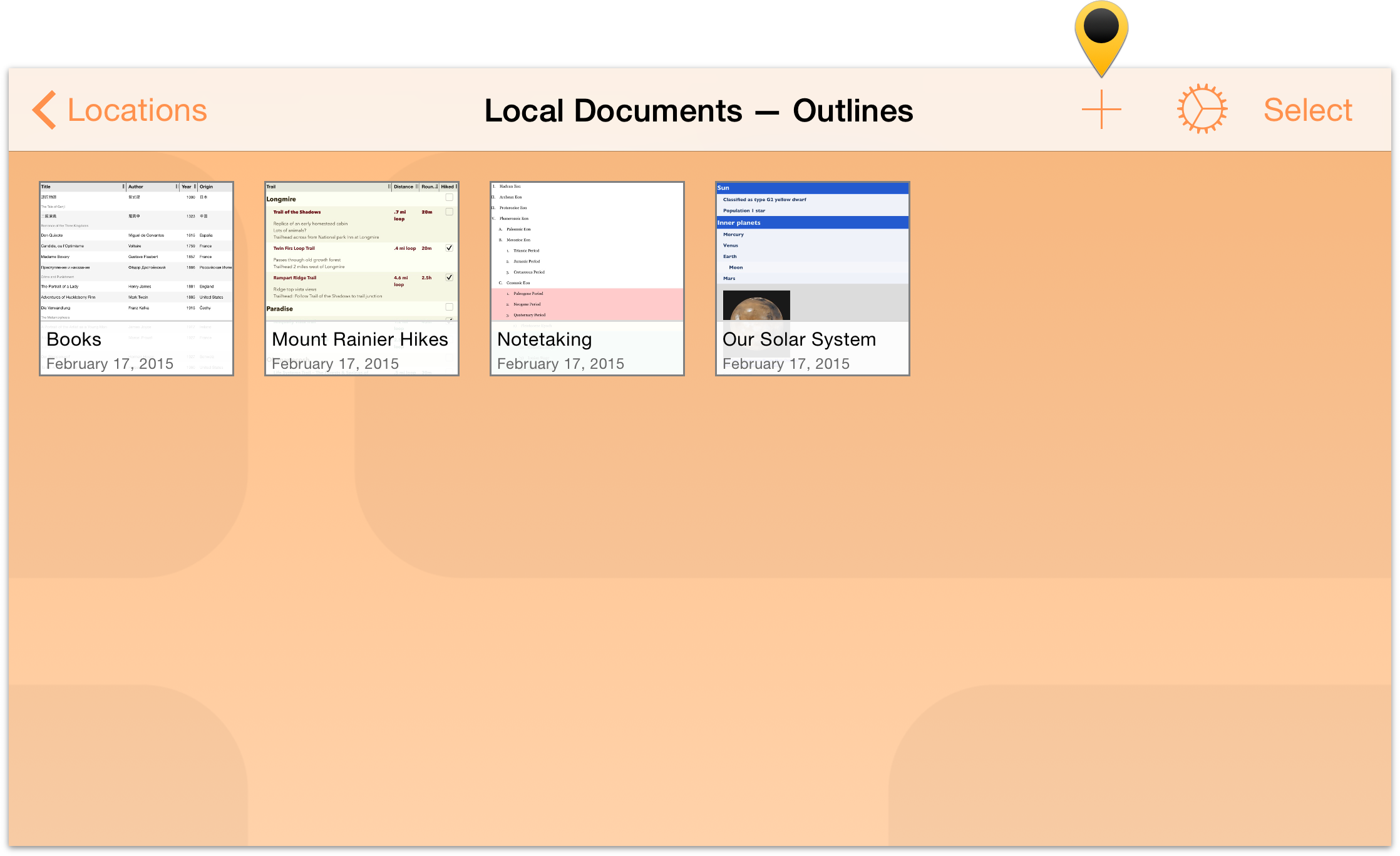 Omnioutliner 2 9 for ios user manual creating a new for Omnioutliner templates