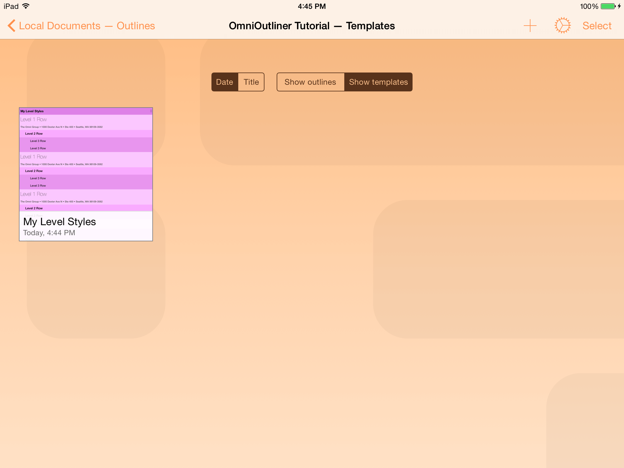 omnioutliner templates - omnioutliner 2 9 for ios user manual working in the cloud