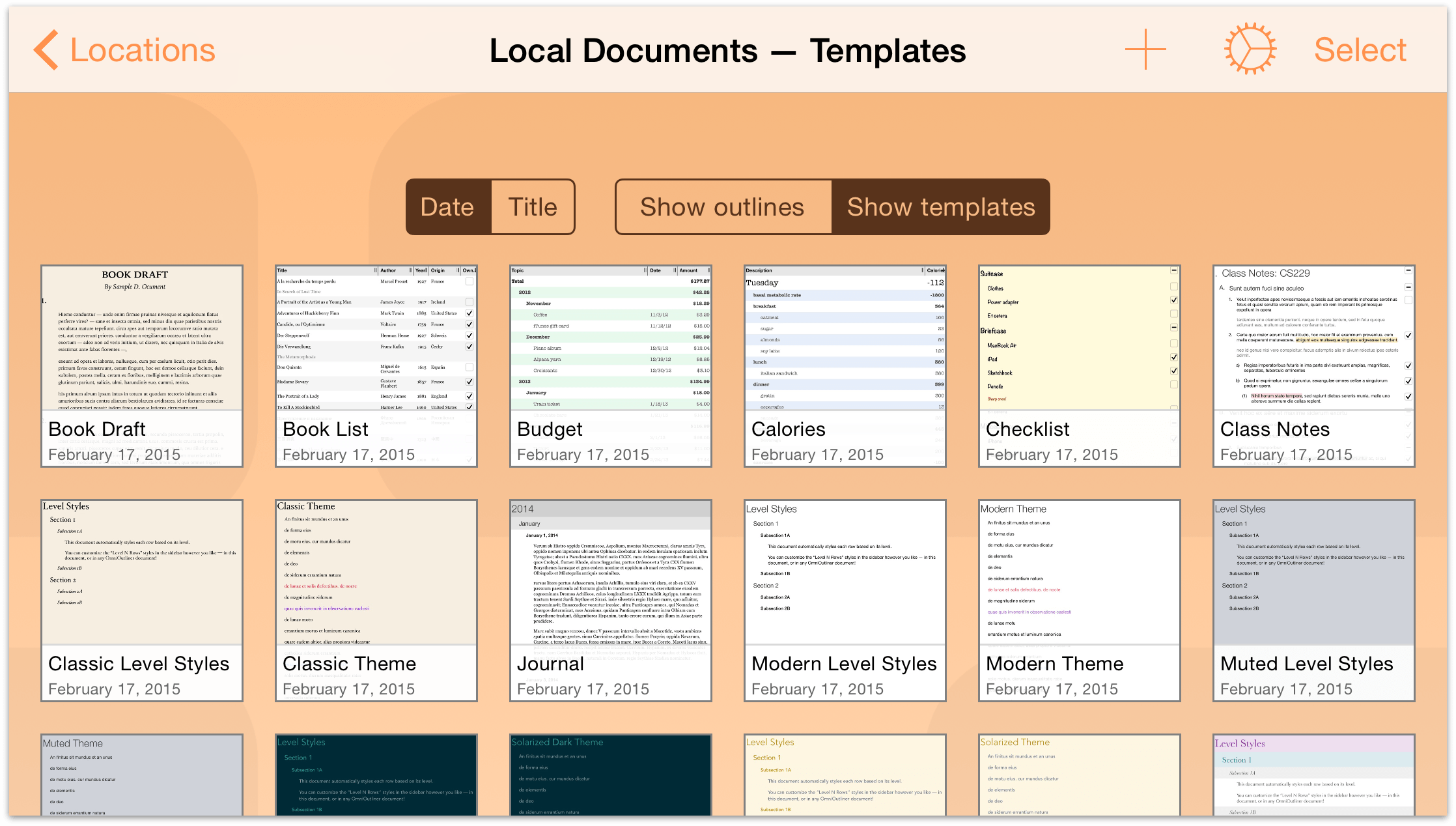Omnioutliner 2 9 3 For Ios User Manual Managing Files With The