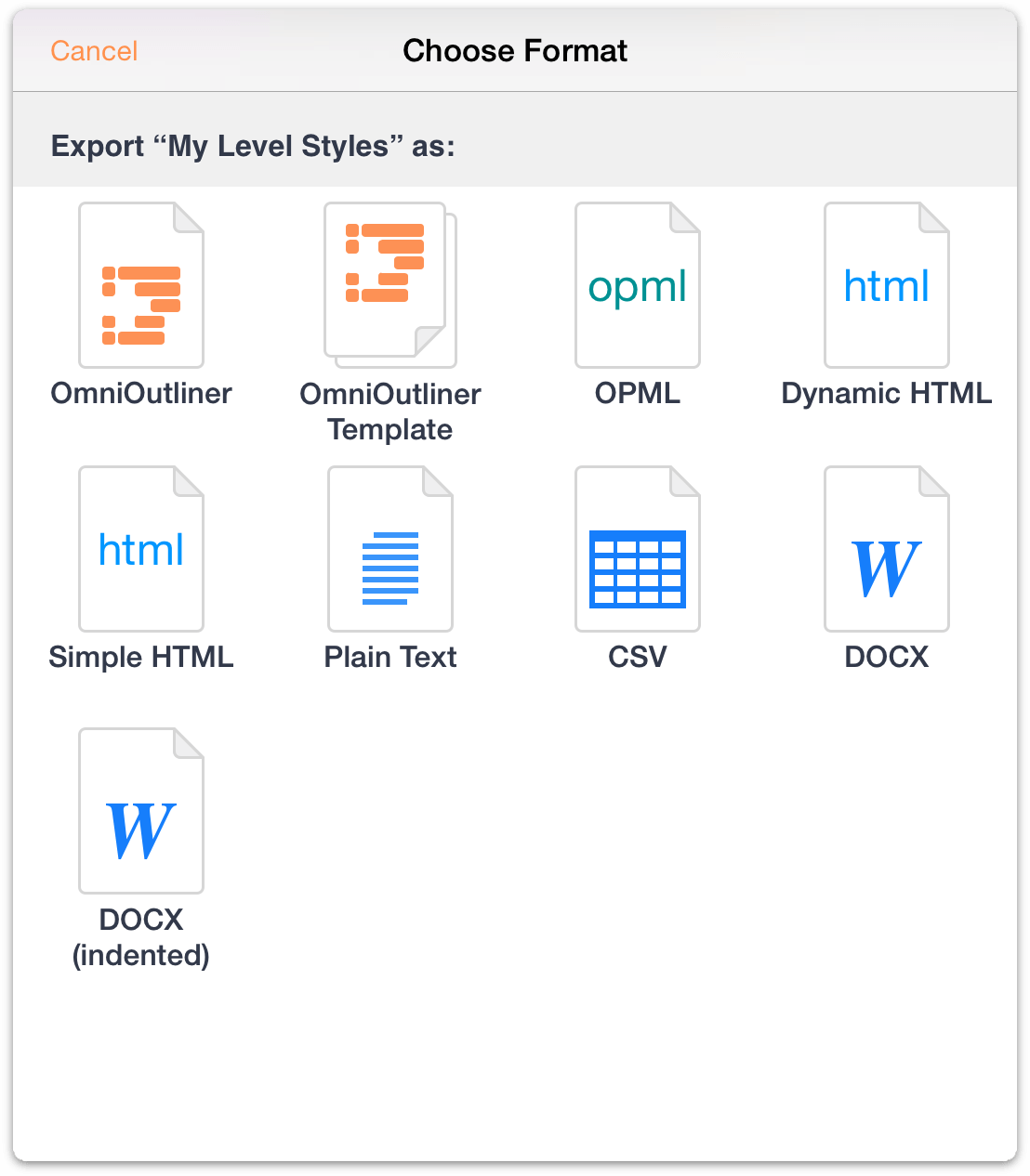 Omnioutliner 2 9 6 for ios user manual the omni group for Omnioutliner templates