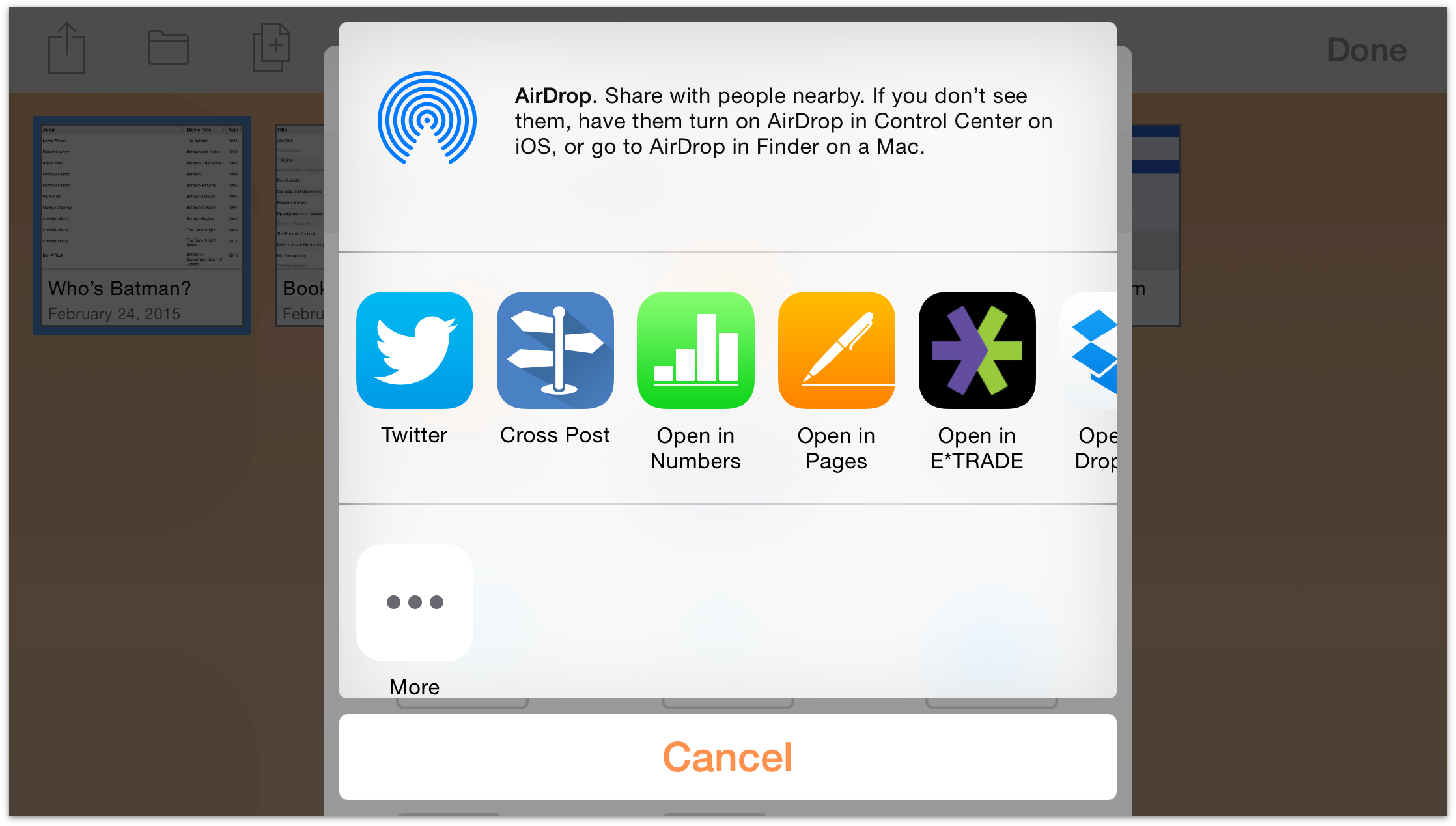 optionally you can also send the file to another person via airdrop