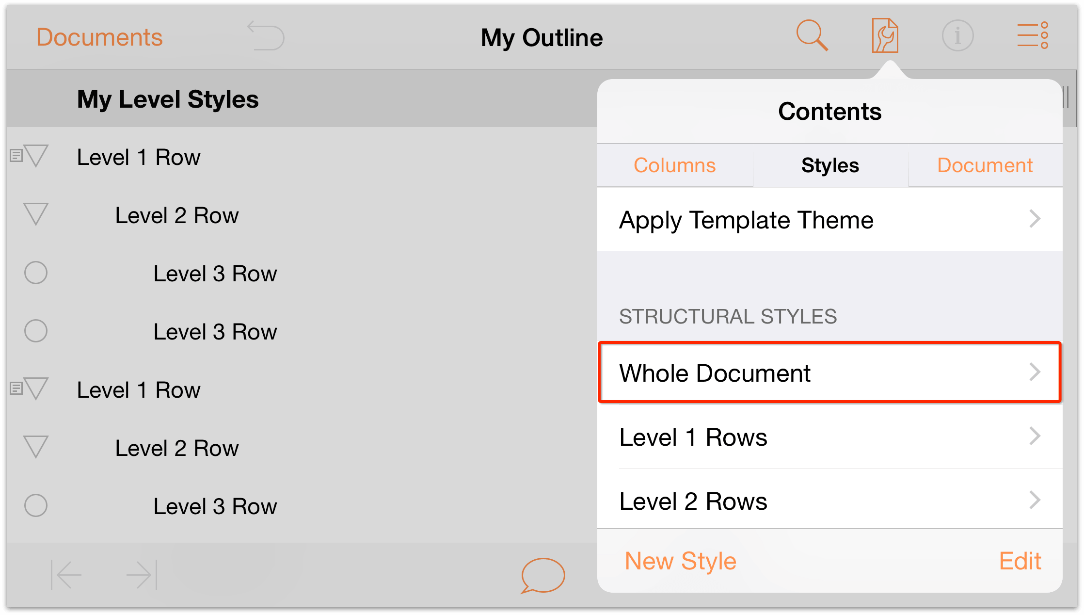 omnioutliner templates - omnioutliner 2 9 6 for ios user manual working with