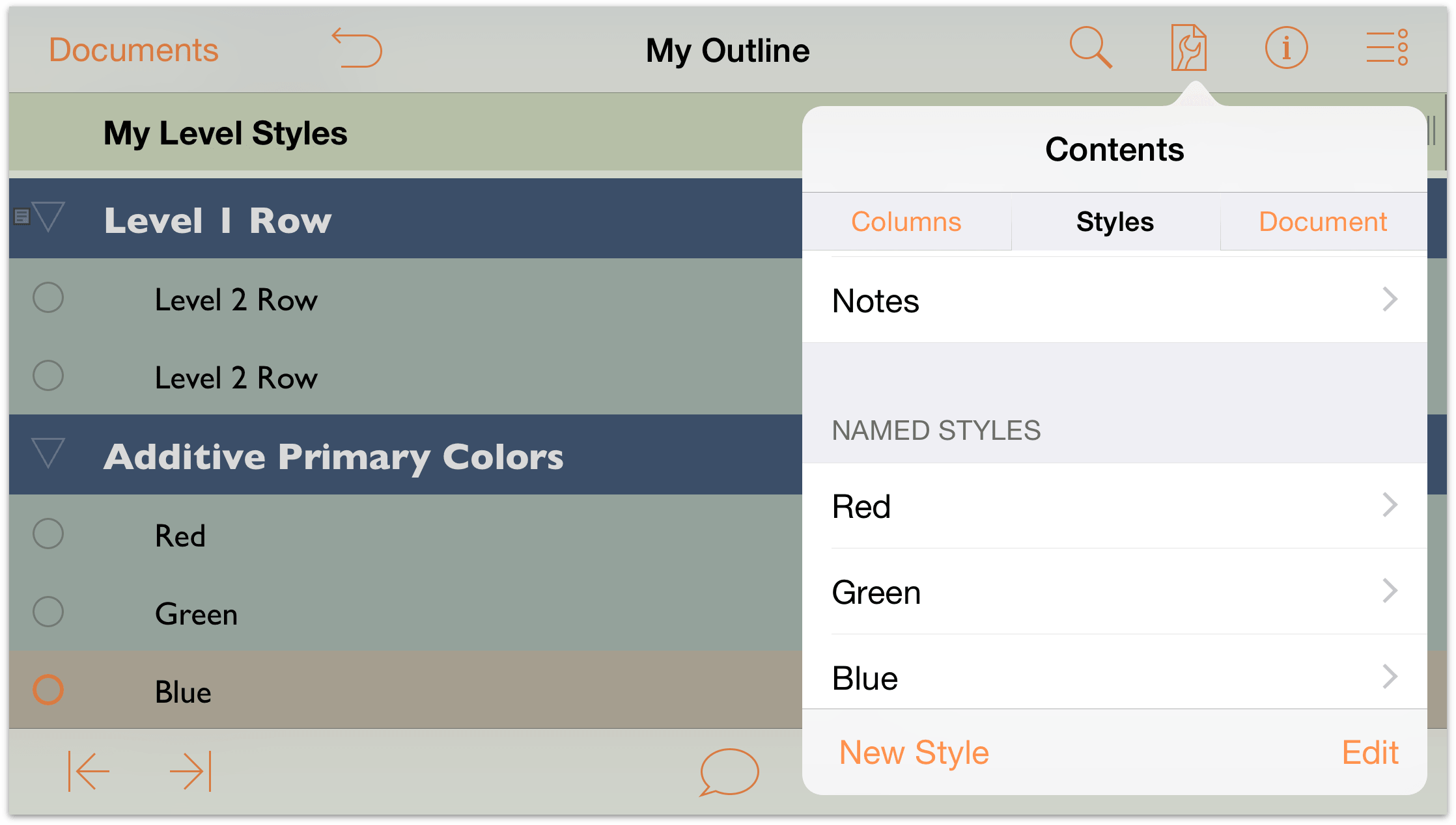 Omnioutliner 2 9 6 For Ios User Manual Working With Templates And