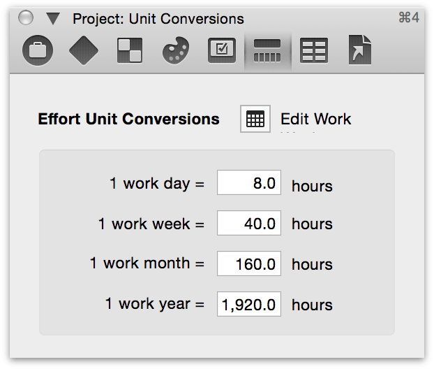 The Project Unit Conversions inspector.