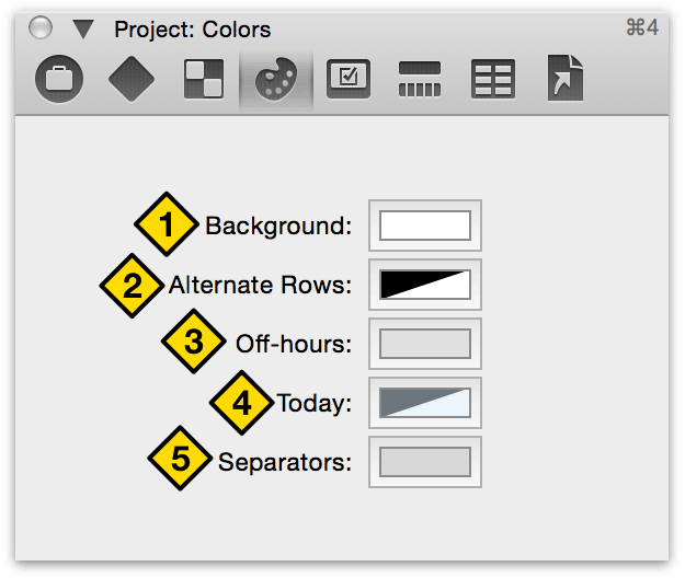 The Project Colors inspector.