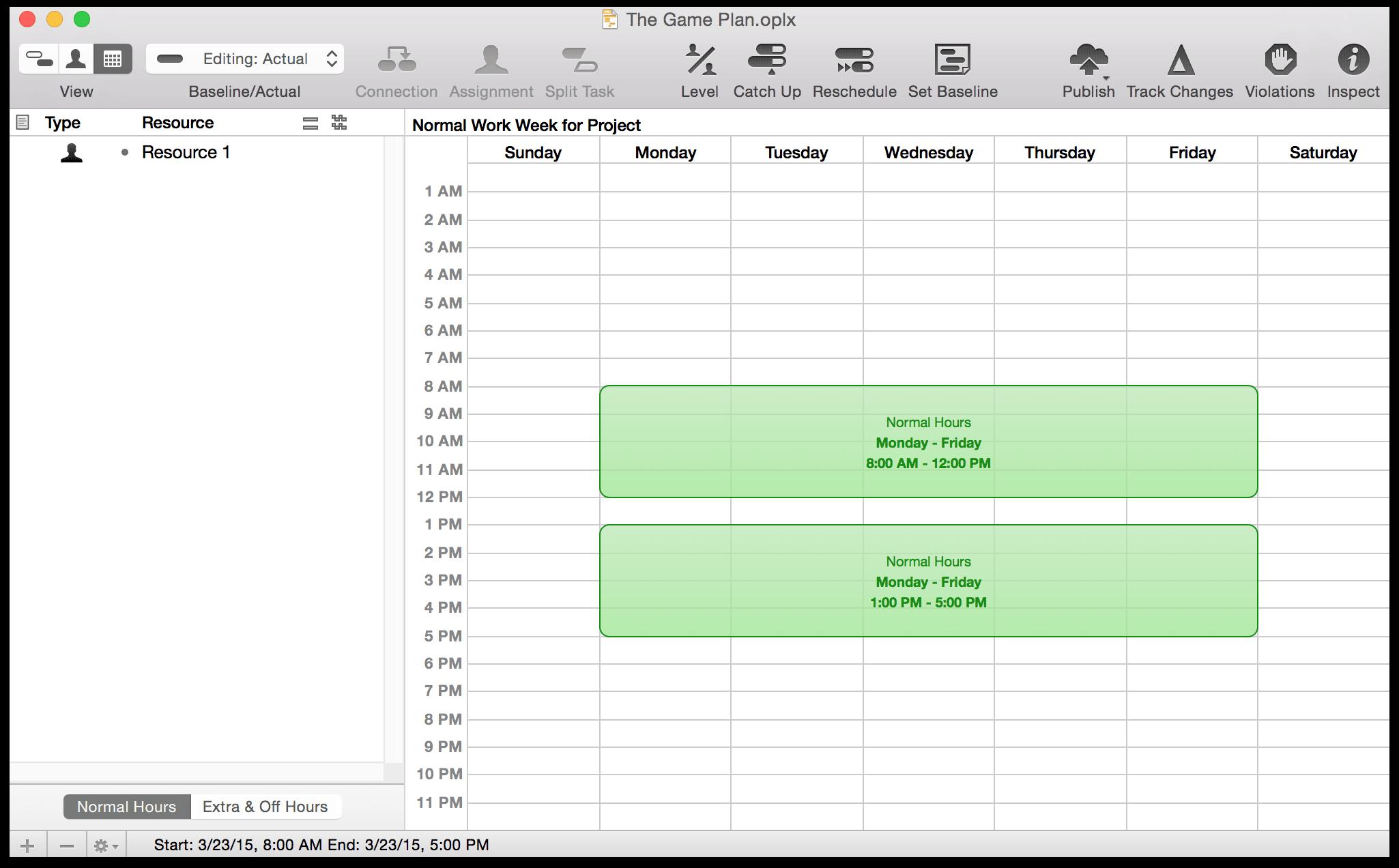 1 week schedule