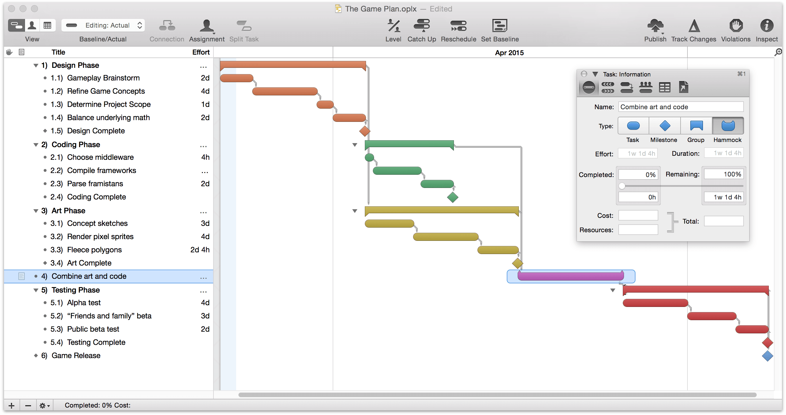 Omniplan 2 for mac user manual the omni group selecting the hammock task type in the task info pane of the task inspector nvjuhfo Images