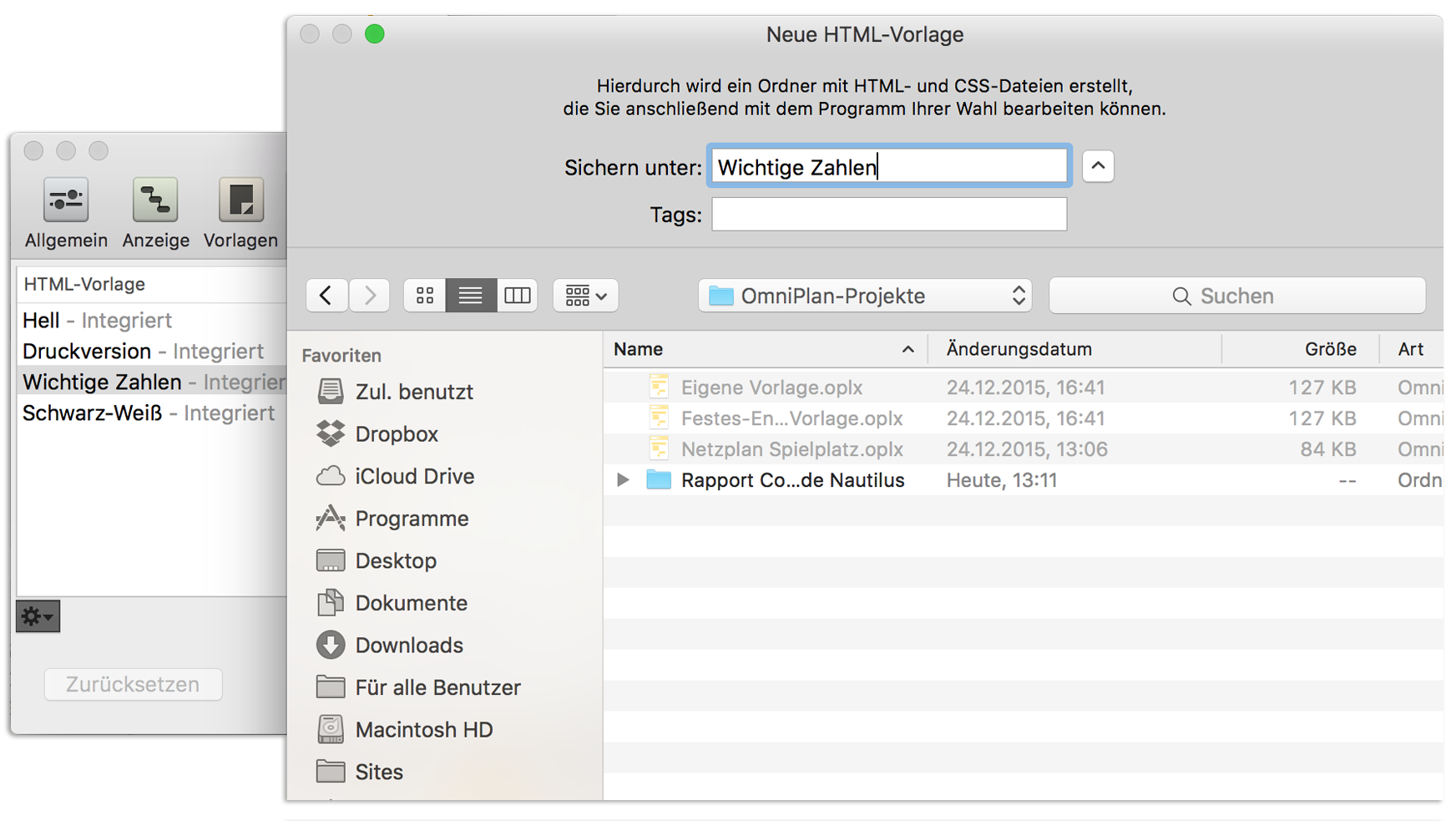 OmniPlan 3 für Mac-Benutzerhandbuch – Berichterstellung und Drucken