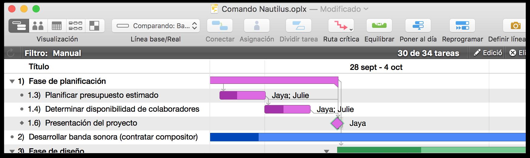 Manual del usuario de OmniPlan 3 para Mac — Trabajar en la vista de ...
