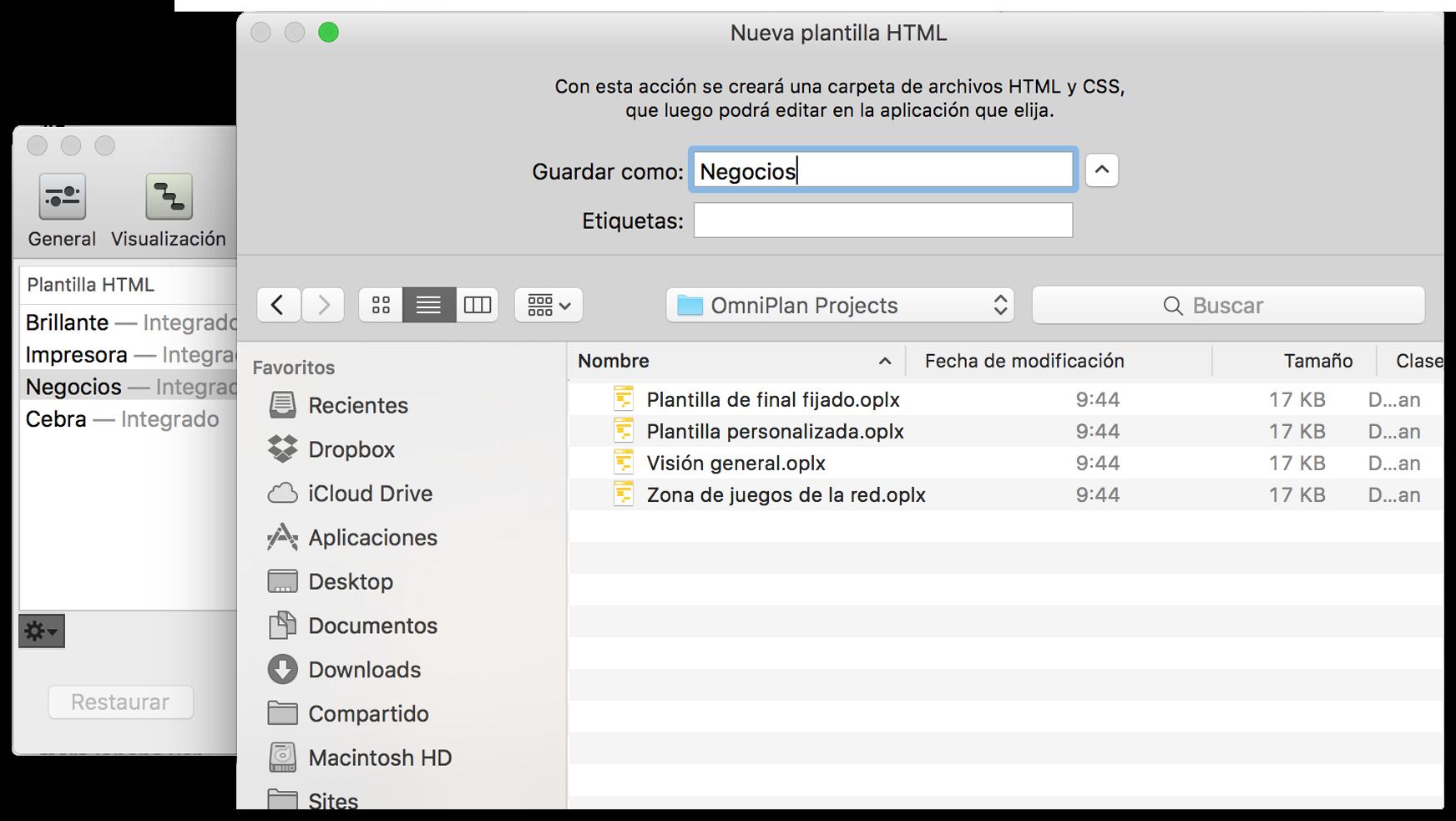 Manual del usuario de OmniPlan 3 para Mac — Informes e impresión