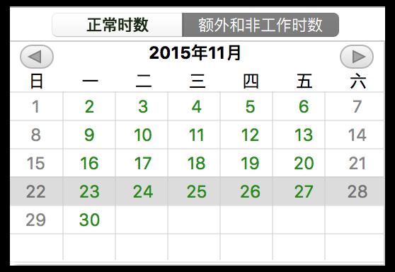 项目日历概览。