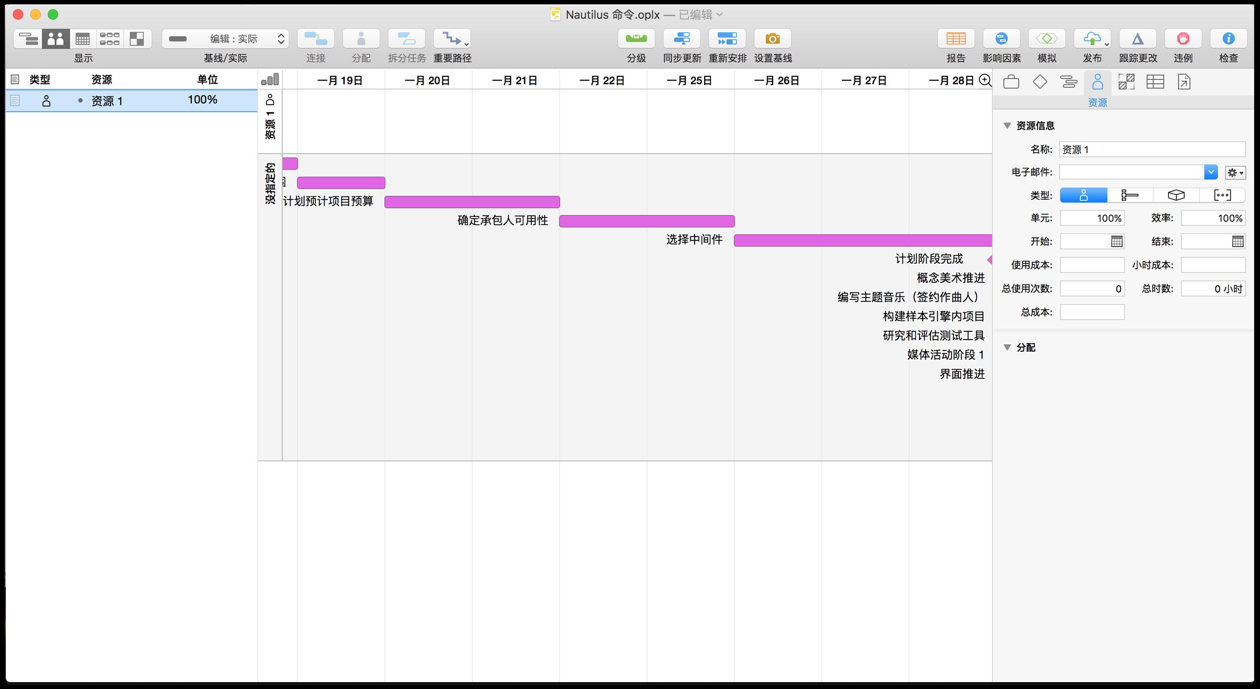 新建的项目会自带一个默认的资源,可以在资源视图中看到。