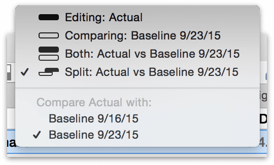 Choosing from among multiple baselines in the Baseline/Actual menu.