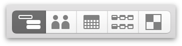 Switching to Task View with the View Switcher in the toolbar.