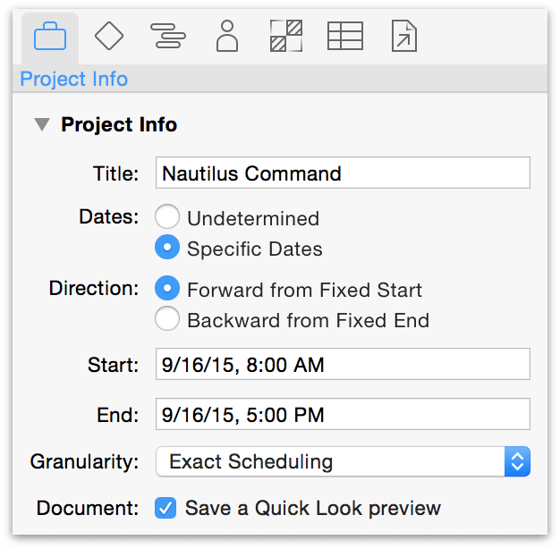The Project inspector with the default start date (the day the project is created).