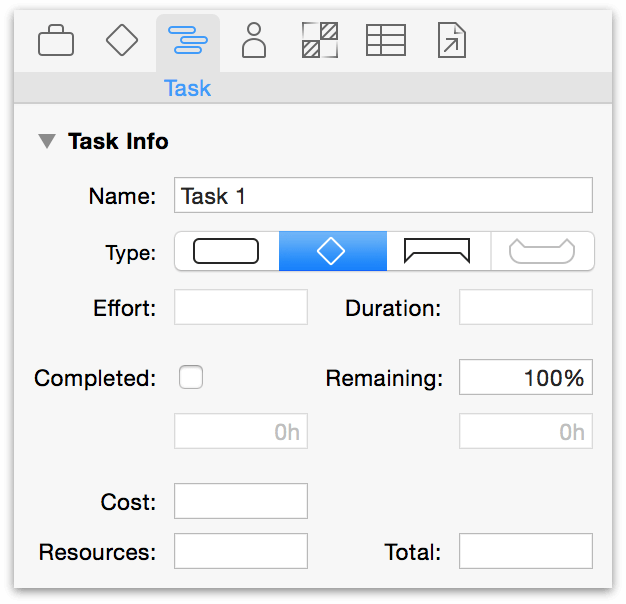 Change a task to a milestone in the Task Information inspector.