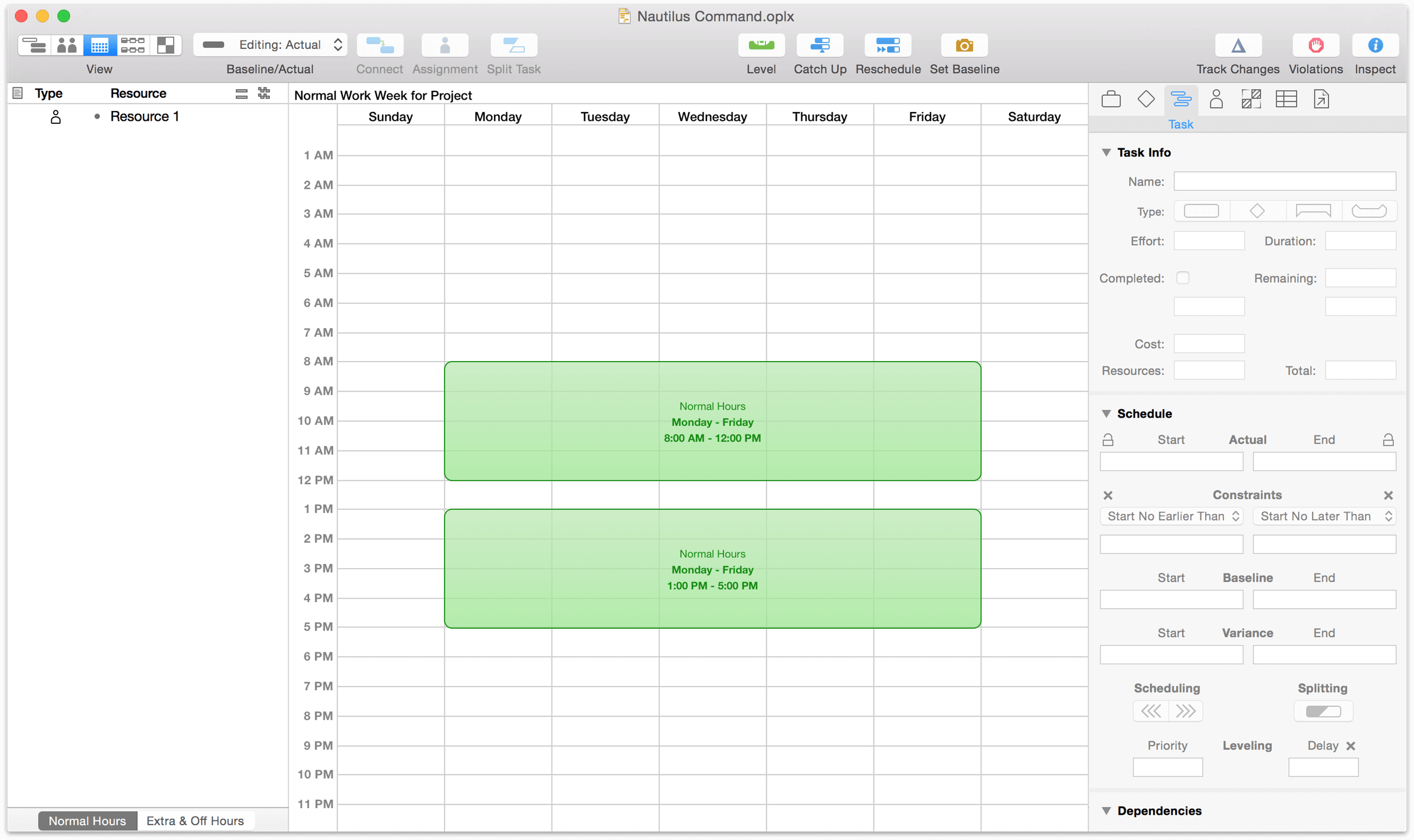 The default schedule for a work week in Calendar view.