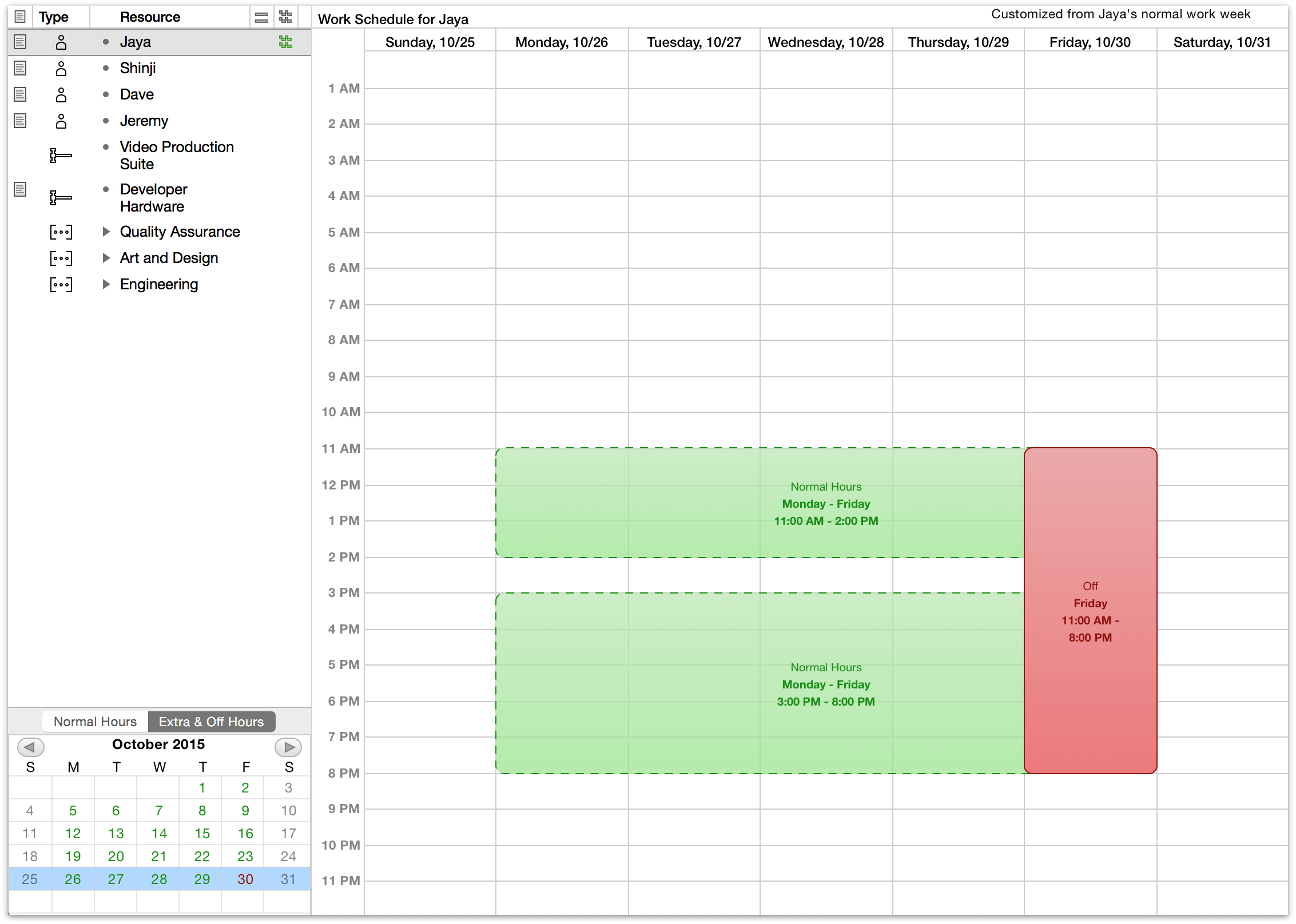 Describing vacation time for an individual staff member in Calendar view.