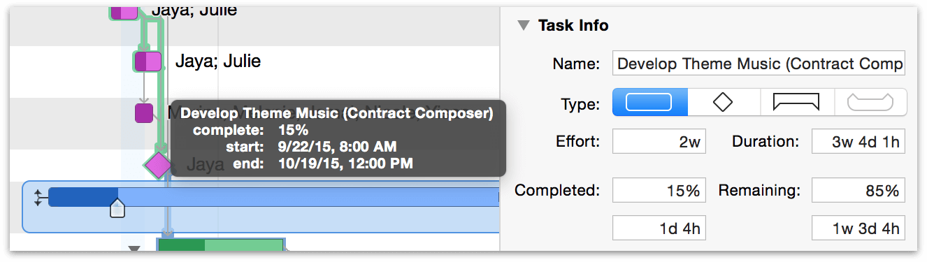 Updating task completion using the task completion slider.