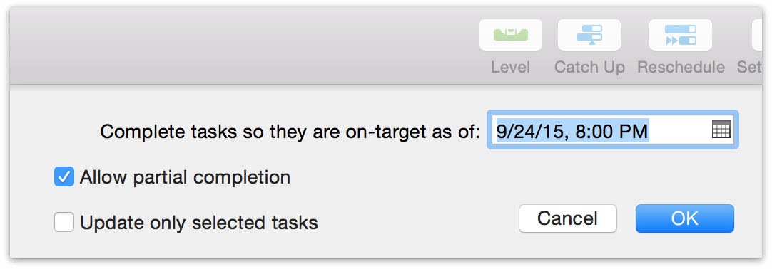 Using the Catch Up button to bring task completion up to the chosen date.