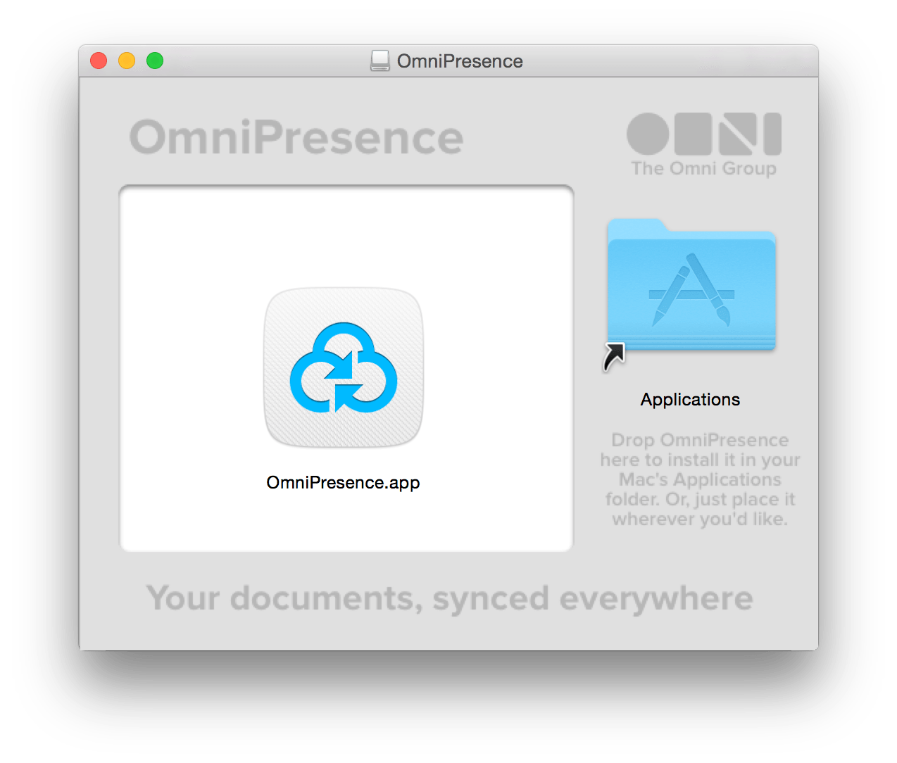 Drag the OmniPresence.app icon over to the Applications folder to install it on your Mac