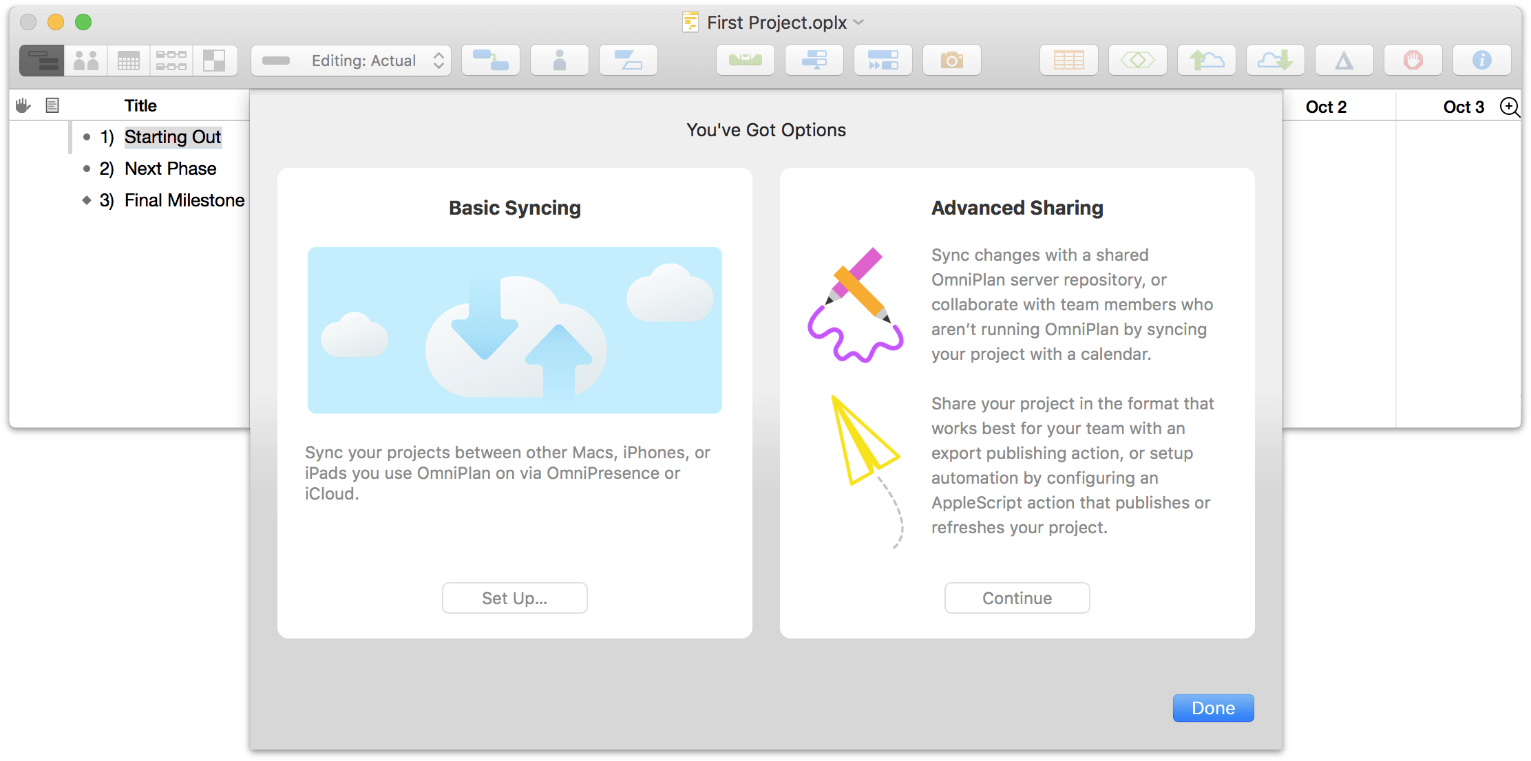 Setting up sharing options for a project in OmniPlan 3.10 for Mac, Step 1.