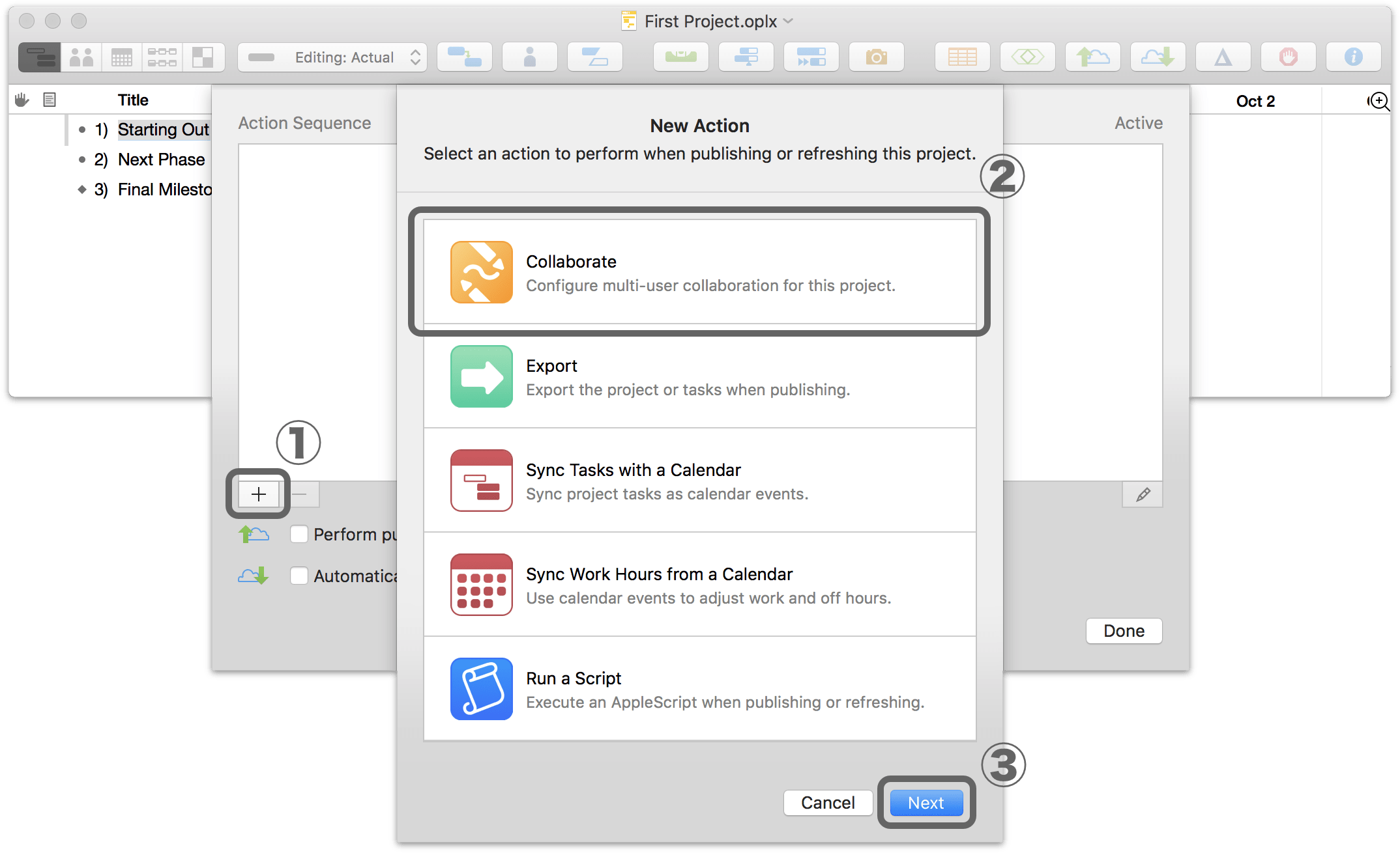 Setting up sharing options for a project in OmniPlan 3.10 for Mac, Step 2.