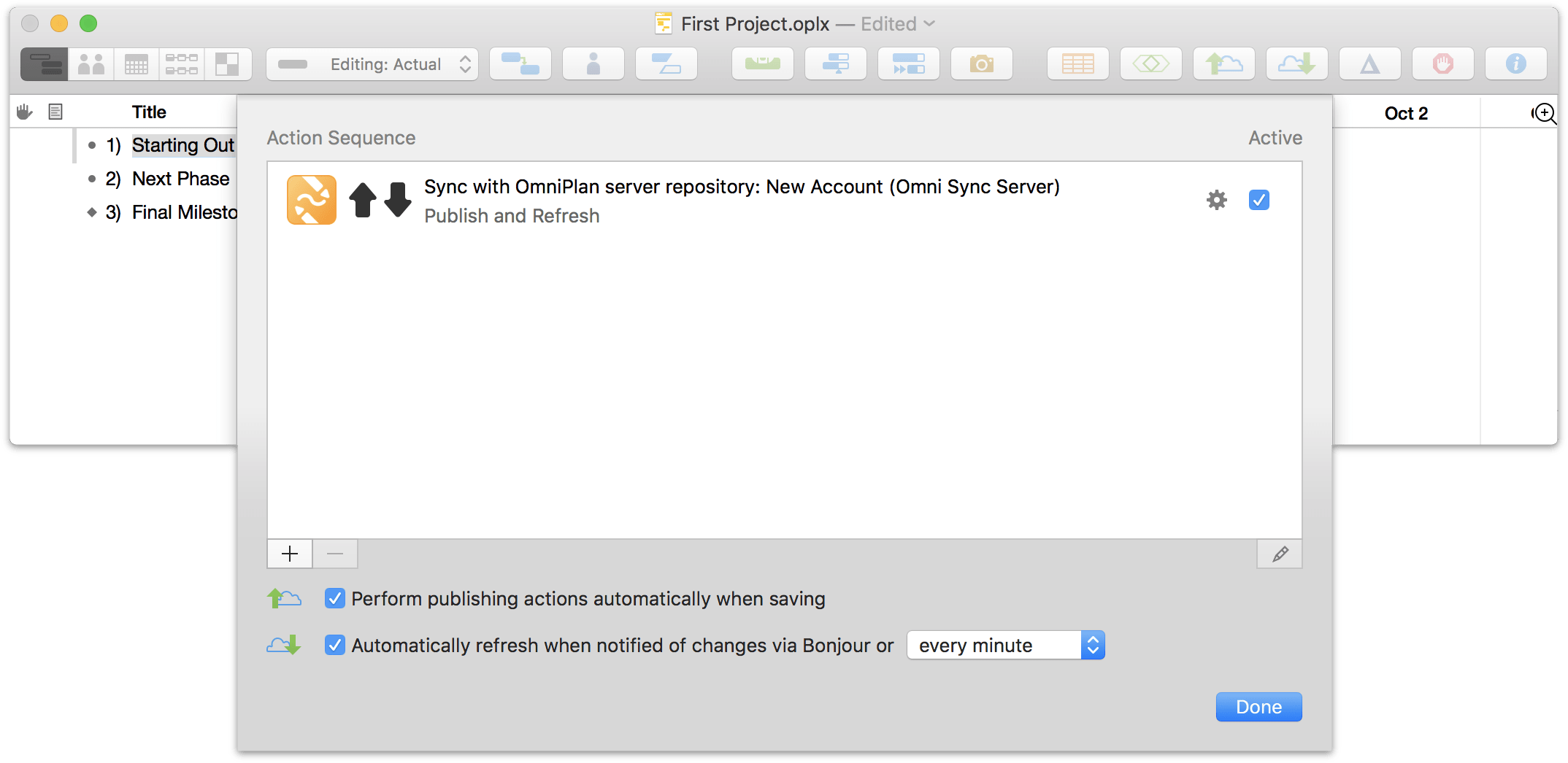 Setting up sharing options for a project in OmniPlan 3.10 for Mac, Step 4.